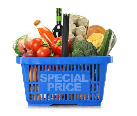 e store: Composition with shopping basket and groceries isolated on white