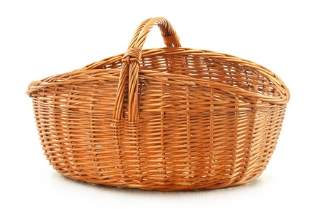 shopping baskets: Empty wicker basket isolated on white Stock Photo