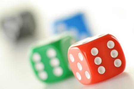 Composition with four colorful dices isolated on white Stock Photo - 12457341