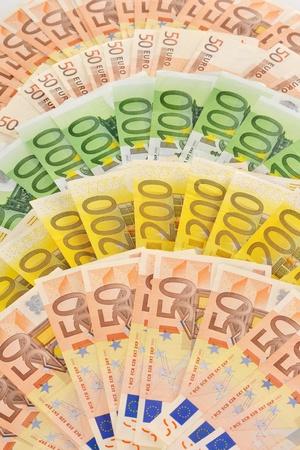 european union currency: Composici�n con los billetes en euros moneda de la Uni�n Europea Foto de archivo