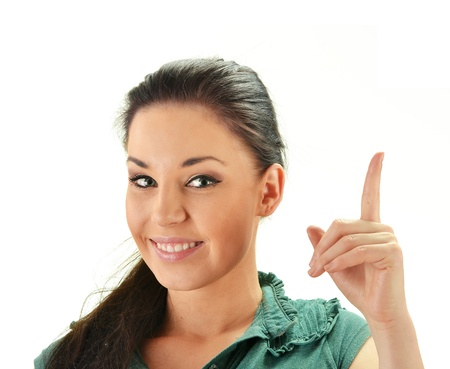 Young smiling woman with her finger up isolated on white Stock Photo - 13108514