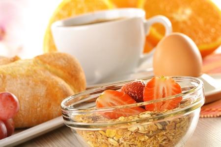 Breakfast with coffee, rolls, egg, orange juice, muesli and cheese Stock Photo - 13108516