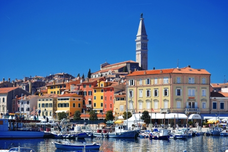 croatia: Old town architecture of Rovinj, Croatia  Istria touristic attraction