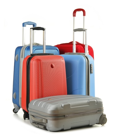 Luggage consisting of suitcases isolated on white photo
