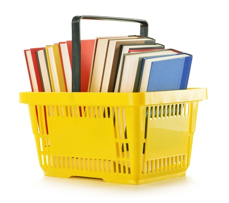 paper basket: Plastic shopping basket with books isolated on white