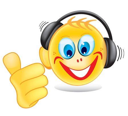 audifonos dj: 'Disc Jockey' Smiley aislado en blanco Vectores