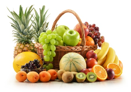 Composition with assorted fruits in wicker basket isolated on white Stock Photo - 14232907