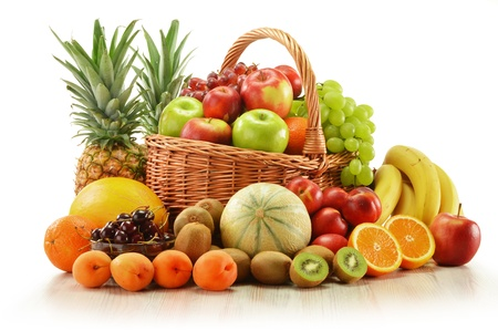 Composition with assorted fruits in wicker basket isolated on white Stock Photo - 14226748