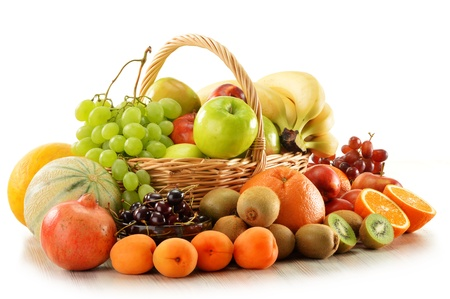 Composition with assorted fruits in wicker basket isolated on white Stock Photo - 14232912