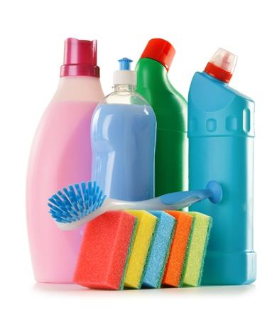 toilet brush: Detergent bottles isolated on white