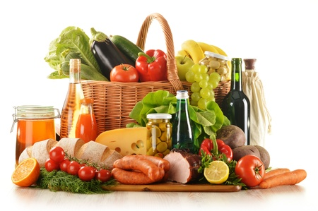 Composition with variety of grocery products including vegetable, fruits, meat, dairy and wine Stock Photo - 14539455