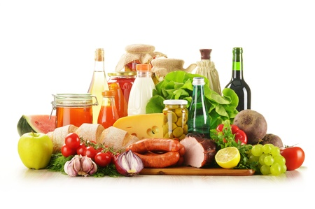 Composition with variety of grocery products including vegetable, fruits, meat, dairy and wine Stock Photo - 14539459