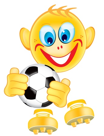 eye ball: Soccer player Smiley with ball in hands isolated on white