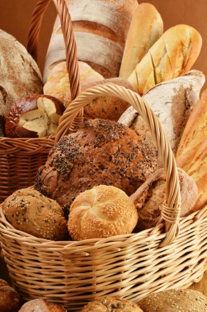 bread rolls: Composition with bread and rolls in wicker basket