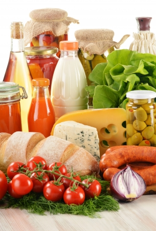 Composition with variety of grocery products including vegetable, fruits, meat, dairy and wine Stock Photo - 14732627