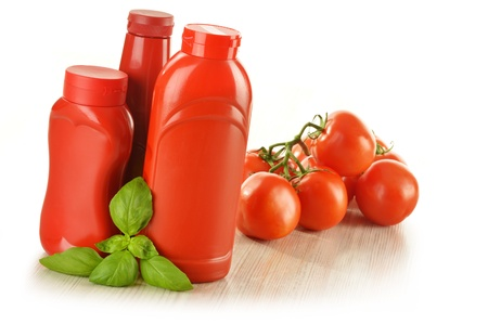 sause: Composition with ketchup and fresh tomatoes isolated on white Stock Photo