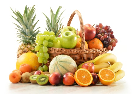 Composition with assorted fruits in wicker basket isolated on white Stock Photo - 15327240