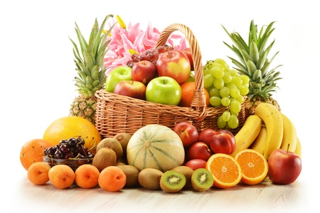 Composition with assorted fruits in wicker basket isolated on white Stock Photo - 15822985
