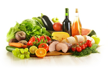 Composition with variety of grocery products including vegetables, fruits, meat, dairy and wine Stock Photo - 15822982