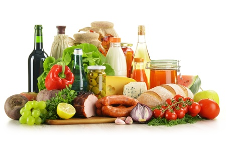grocery baskets: Composition with variety of grocery products including vegetables, fruits, meat, dairy and wine