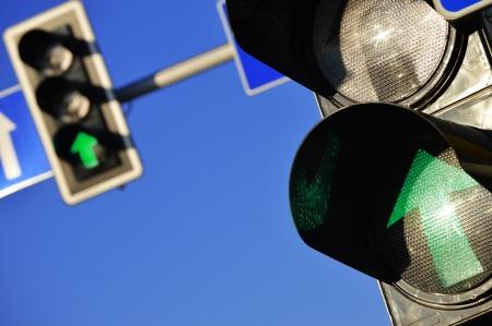 semaphore: Traffic lights over the blue sky Stock Photo