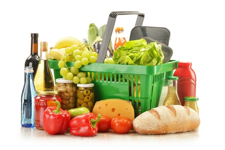 Composition with grocery products in shopping basket Stock Photo - 16831933