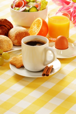 egg cup: Composition with breakfast on the table