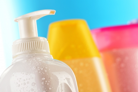 hair conditioner: Composition with plastic bottles of body care and beauty products