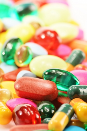 Composition with dietary supplement capsules and drug pills Stock Photo - 17121464