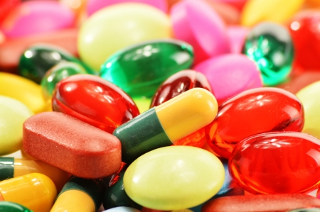Composition with dietary supplement capsules and drug pills Stock Photo - 17121466