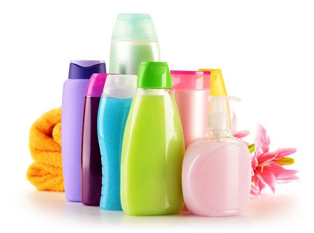 cosmetic products: Composition with plastic bottles of body care and beauty products