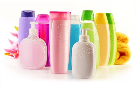 produits de beaut�: Composition avec des bouteilles en plastique de soins du corps et produits de beaut�