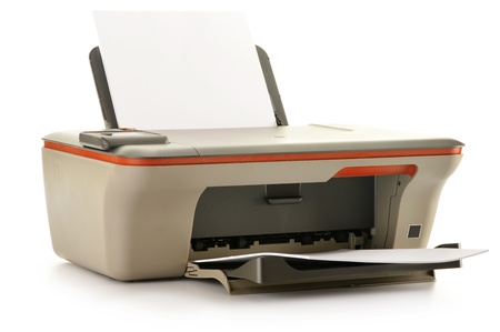 computer printer: Computer printer isolated on white background