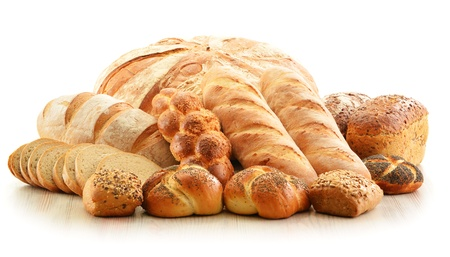 Composition with bread and rolls isolated on white Stock Photo - 17529842
