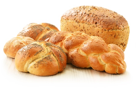 Composition with bread and rolls isolated on white Stock Photo - 17529850