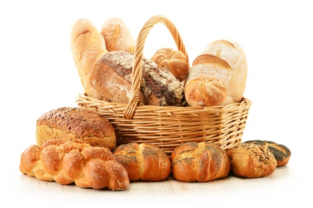 Composition with bread and rolls in wicker basket isolated on white Stock Photo - 17529847