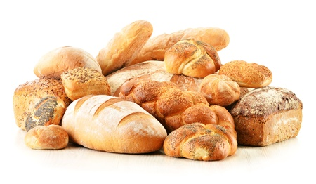 Composition with bread and rolls isolated on white Stock Photo - 17529846