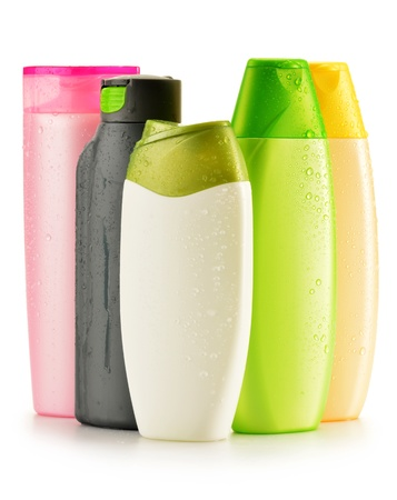 shampoo bottles: Composition with plastic bottles of body care and beauty products