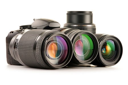 Composition with photo zoom lenses isolated on white background photo