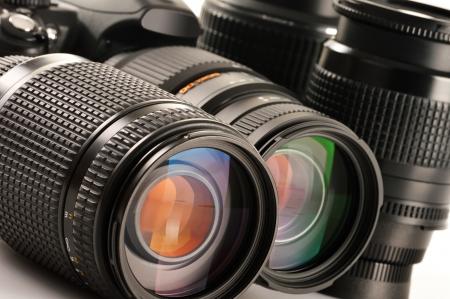 camera lens: Compositie met foto zoomlenzen Stockfoto