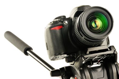 Single-lens reflex camera on tripod isolated on white  SLR Stock Photo - 17546043