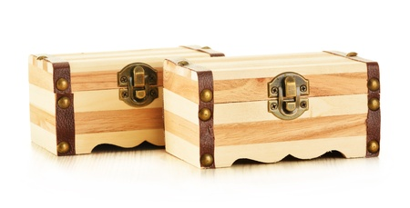 Hand made wooden box for keeping small personal belongings isolated on white background Stock Photo - 17752156