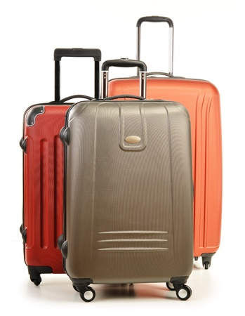 Luggage consisting of large polycarbonate suitcases isolated on white Stock Photo - 17914549