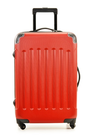 packing suitcase: Large polycarbonate suitcase isolated on white