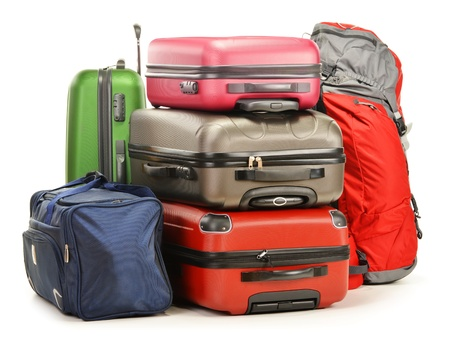 airport customs: Luggage consisting of large suitcases rucksack and travel bag isolated on white