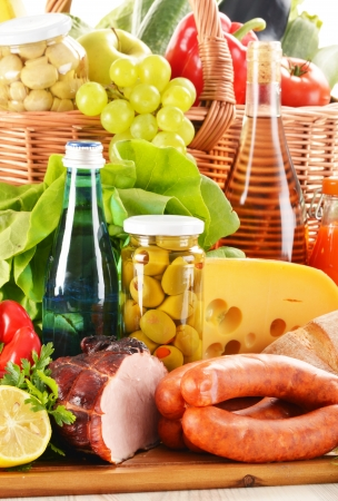 Composition with variety of grocery products including vegetable, fruits, meat, dairy and wine Stock Photo - 17911286