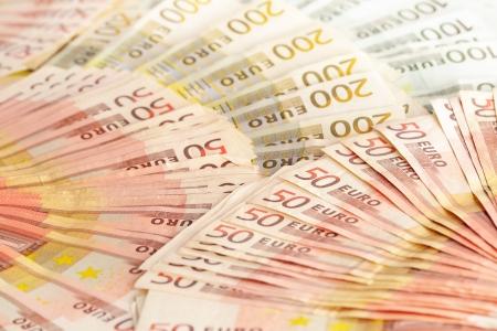 european union currency: Composici?on los billetes en euros moneda de la Uni?uropea Foto de archivo
