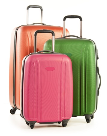 Luggage consisting of large polycarbonate suitcases isolated on white Stock Photo - 18081643