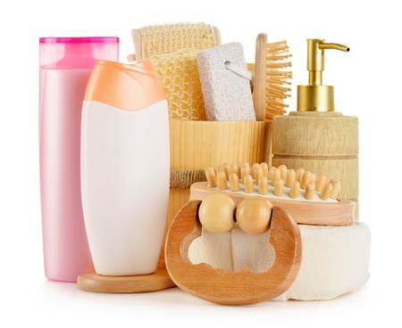 Composition with  body care accessories and beauty products isolated on white Stock Photo - 18081585
