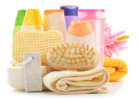Composition with  body care accessories and beauty products isolated on white Stock Photo - 18081603